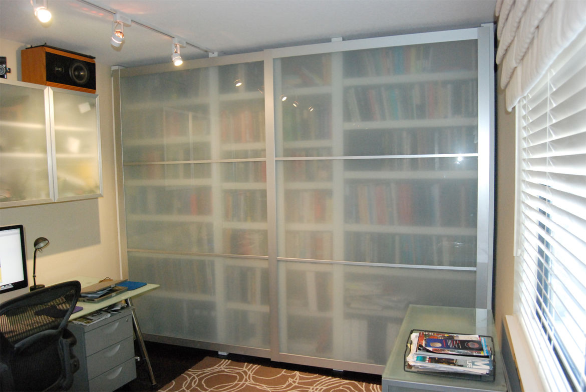 Library Doors<br /><br /> Submitted by: Name not provided<br /><br /> Designer's Description: <br /><br />Over the past 50 years I have collected many hundreds of books. That fact presents two problems. How do you store books and how do you keep your part