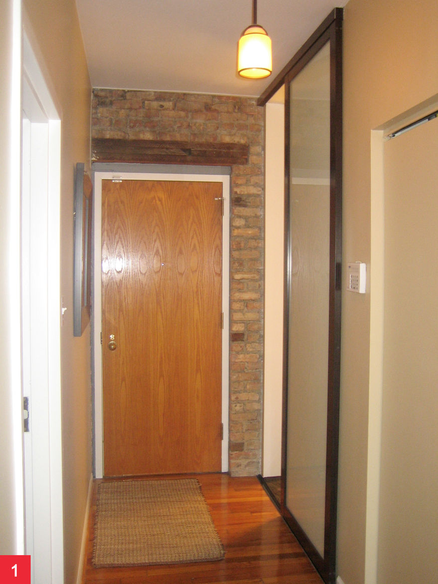 Anti-Pocket Door<br /><br /> Submitted by: Name not provided<br /><br /> Designer's Description: <br /><br />Purchasing a vintage rehabbed condo has its drawbacks when the space is not fully functional. A small Chicago urban setting, small condominiums ca