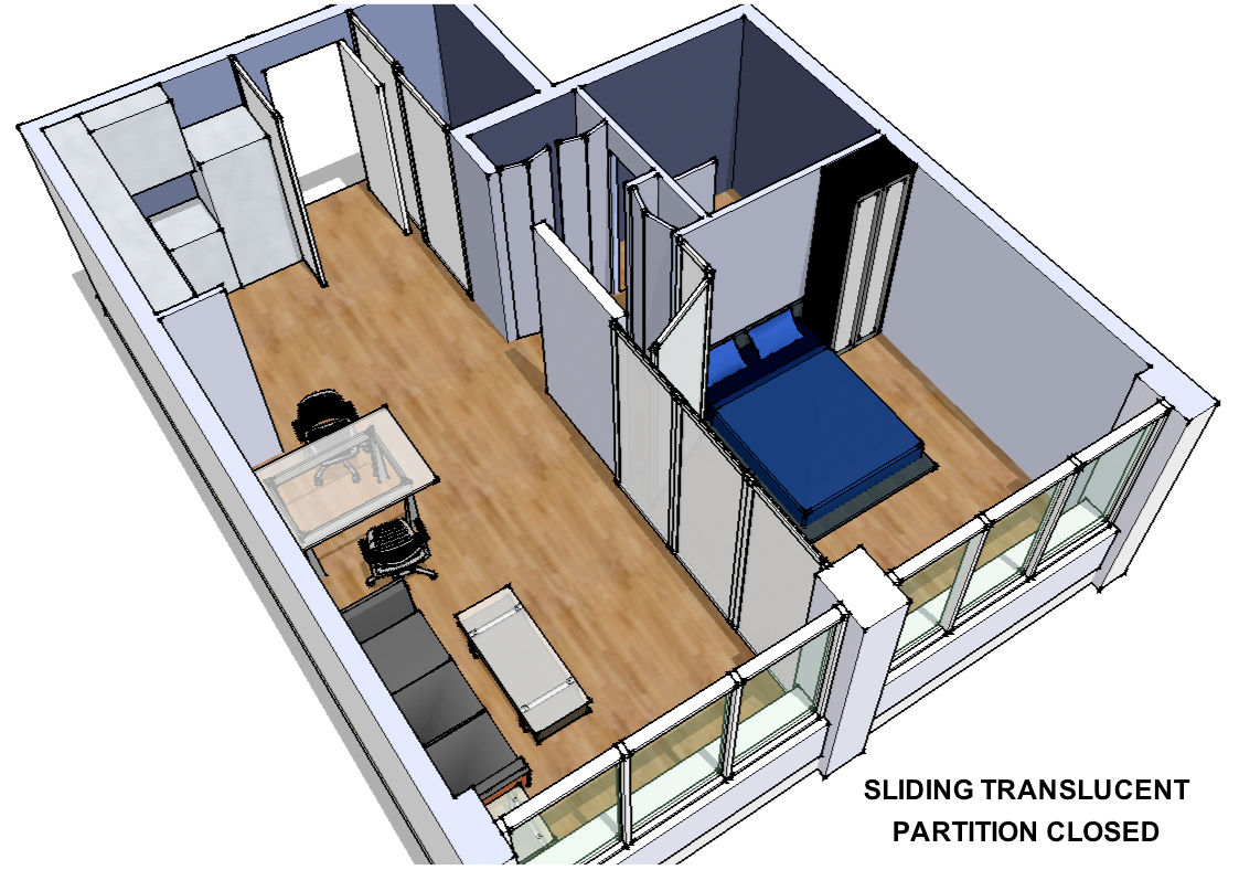 Transform<br /><br /> Submitted by: J. Michael Kilpatrick, Architect<br /><br /> Designer's Description: <br /><br />This project involves a 550-square-foot one-bedroom condo. Currently a wall exists between the bedroom and living room. This proposal prov