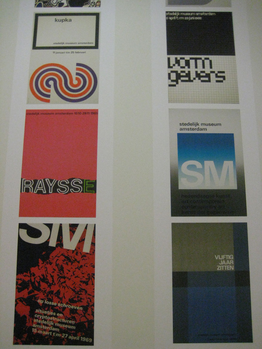 """Row one, top to bottom:<br /><br />Wim Crouwel (b. 1928 Groningen). Poster for """"Kupka,"""" 1928.<br /><br />Wim Crowel. Poster for """"Raysse,"""" 1965.<br /><br />i.s.m. Josje Pollmann (b. 1949 Arnhem). Poster for """"Op Losse Schroeven,"""" 1969<br /><br />Row two, to"""
