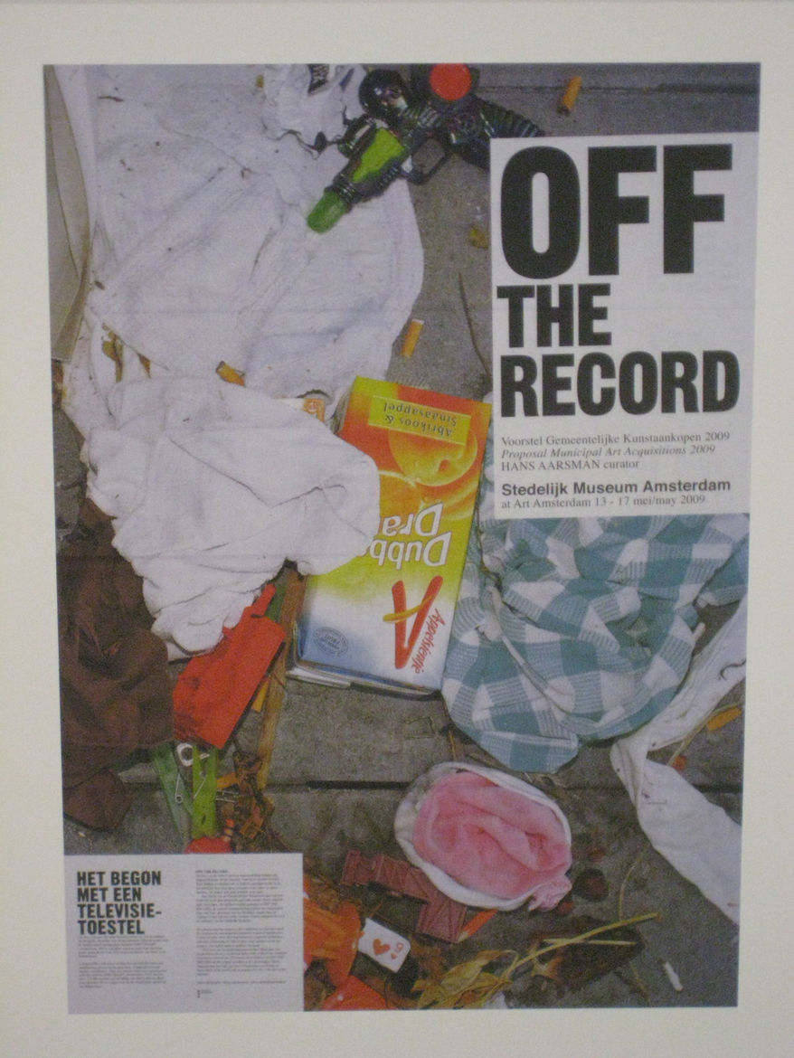 """Sabine Verschueren (b. 1957 Amsterdam). Poster for """"Off the Record,"""" 2009. Photo by Theo Baart (b. 1957 Amsterdam)."""