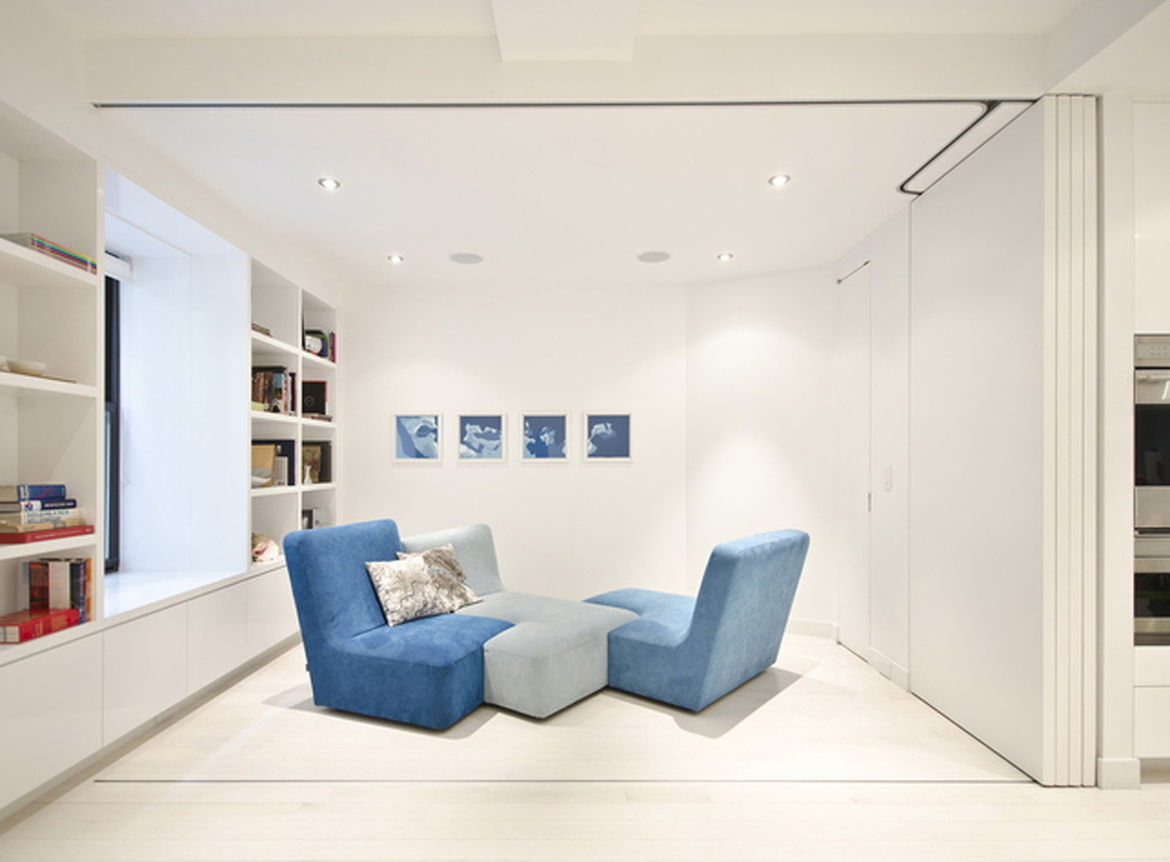 Here's the room with the doors fully opened. The sofa is by Ligne Roset.