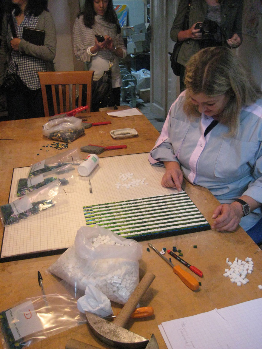 Antonella Gallenda has been working with Lucio since she was 16 years old. She teaches mosaic classes at the foundry (three, five, and ten day courses accredited with IIDA, ASID, and IDEC) and works on commissions using tiles made at Orsoni.