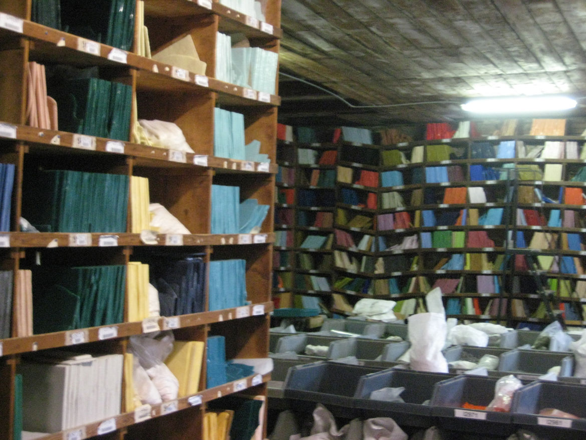 There are 2800 colors in the Orsoni color library—100 of them are standard, and the rest made exclusively for clients and specific projects—and the smalti lines the shelves and fills the bags from floor to ceiling.