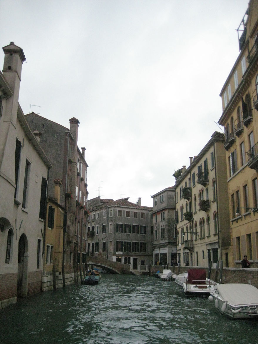 A canal-level view from the water taxi in a city not designed for the easily seasick.