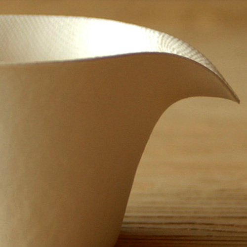 A close-up of the dip in the coffee cup.