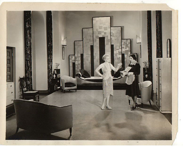 "<em>Our Dancing Daughters</em>, 1926, was one of the first films to begin showcasing the new Art Deco style, an aesthetic rooted in symmetrical geometric patterns that came to define the glamorous life of the American elite. From the book: ""[MGM's Art Dir"