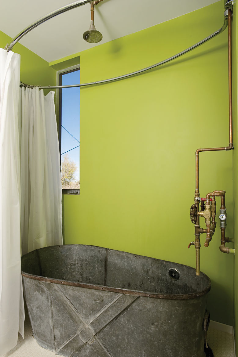 The bathroom. Austin sourced most of the materials from Architectural Salvage of San Diego. Photo by David Harrison.