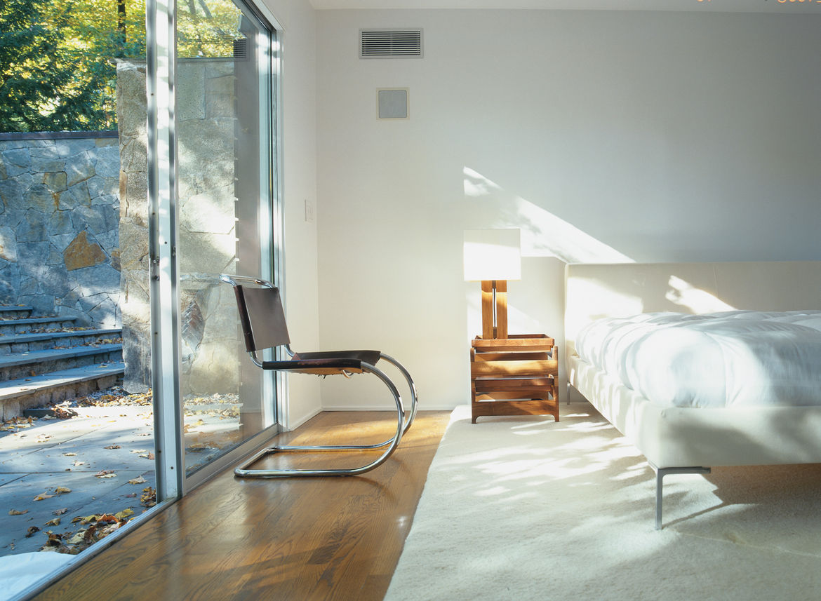 The master suite was fashioned from the house's original garage in a 1970s renovation.