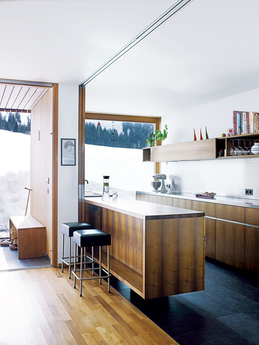 The kitchen is the only zone of the house without protective shutters, so the glazing was toughened to the highest standard.