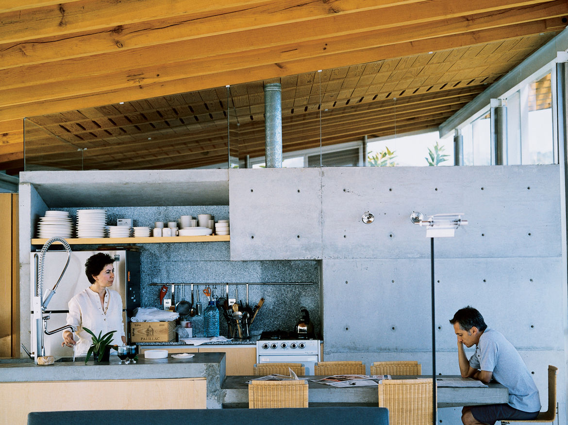 Sold in some of Mexico's larger cities (Mexico City and Guadalajara), as well as in New York and Paris, Bernardo Gomez-Pimienta's design line, BGP, is perfectly sampled at the house in Valle de Bravo. Because the kitchen, dining area, and living room are