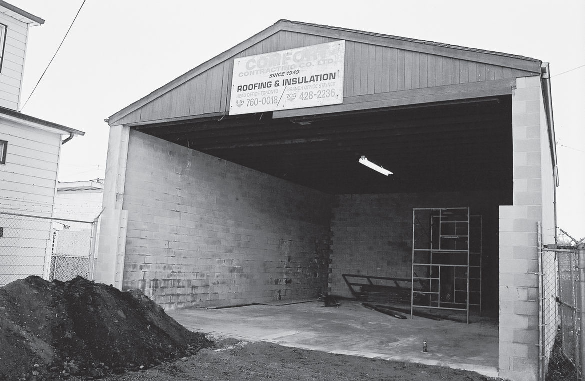 An outbuilding that belonged to the warehouse complex; today the same space holds the courtyard.