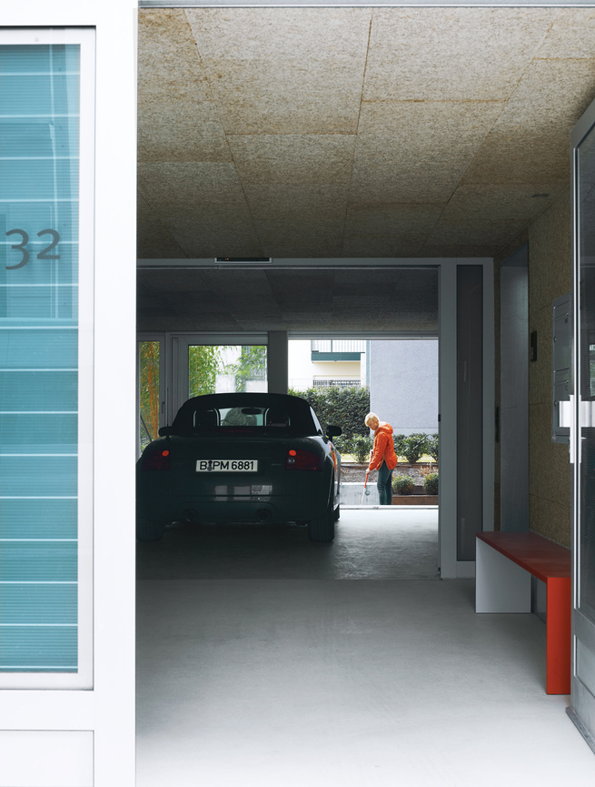 Just outside the lobby is a drive-through for Spiekermann's Audi.
