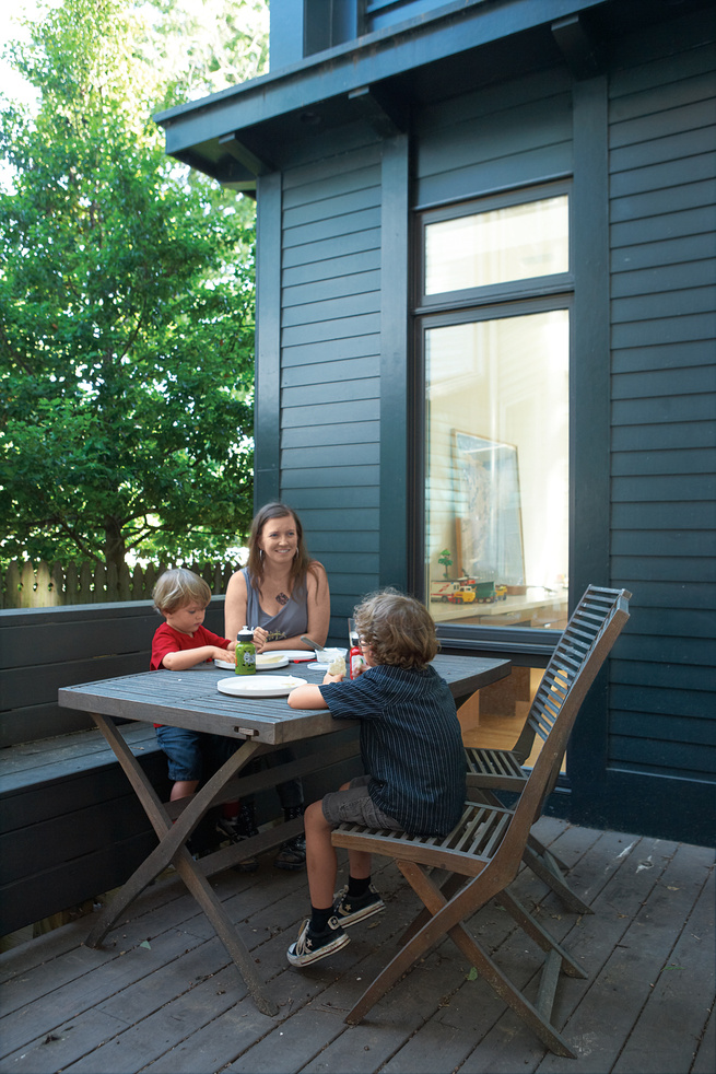 The Black Forest Green painted deck of the Everett House.