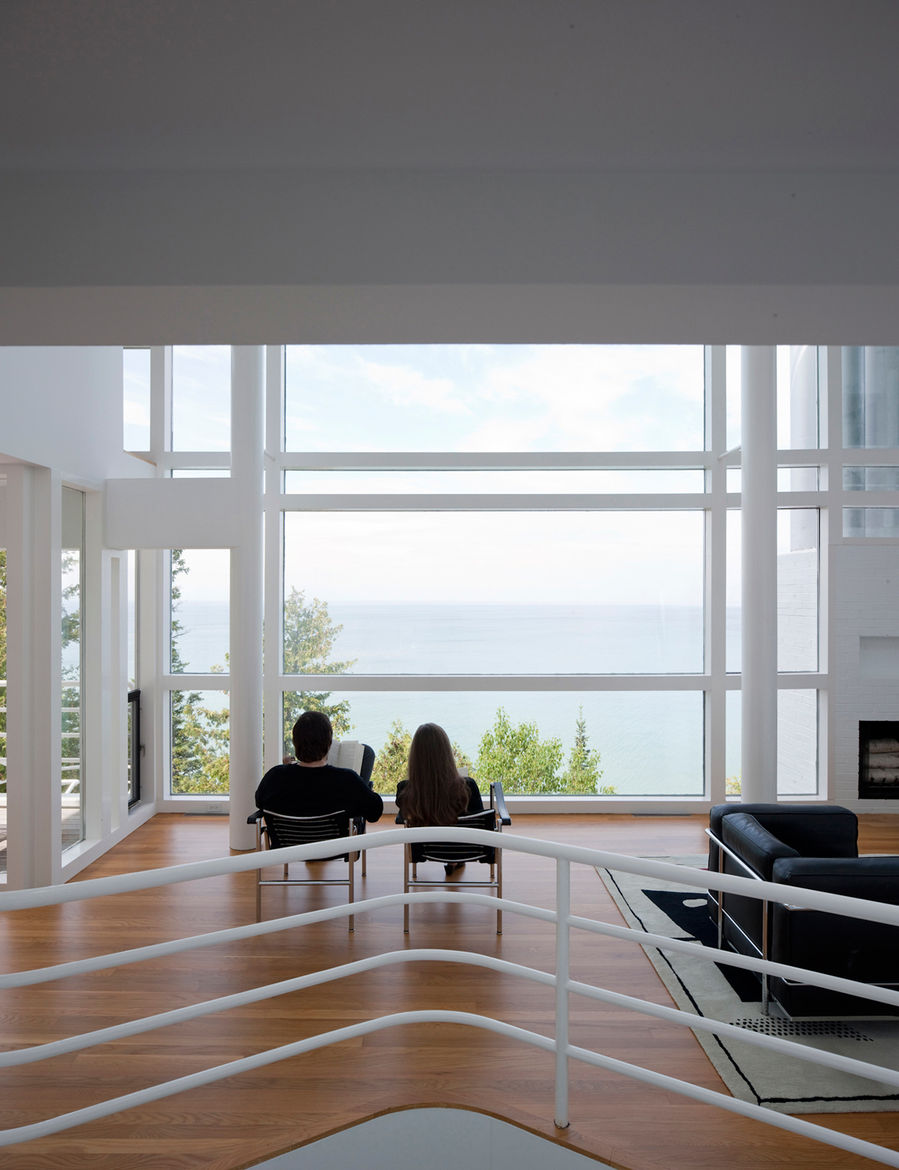 The view from the interior living room windows of the Douglas House.