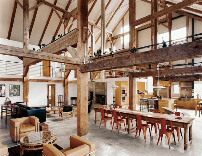 goodman residence dining room gabled ceiling wood beams