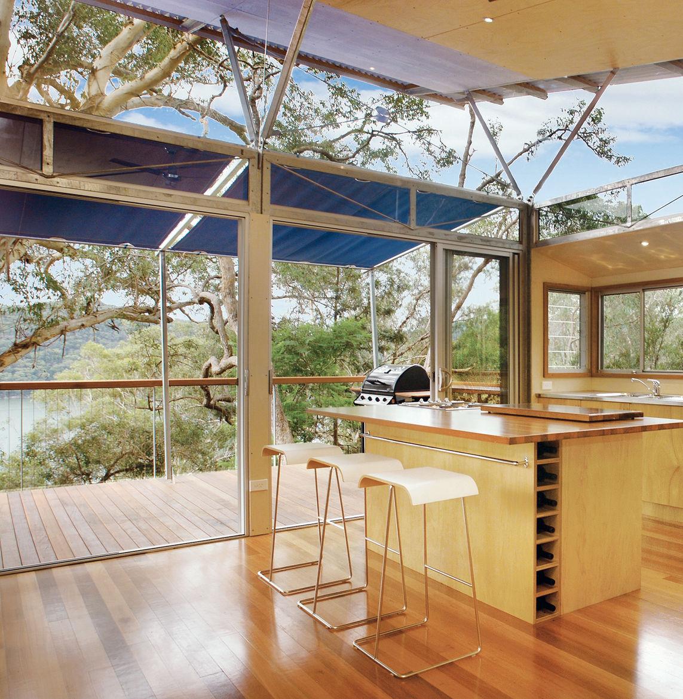 wood floor glass windows house in tree island off Australia