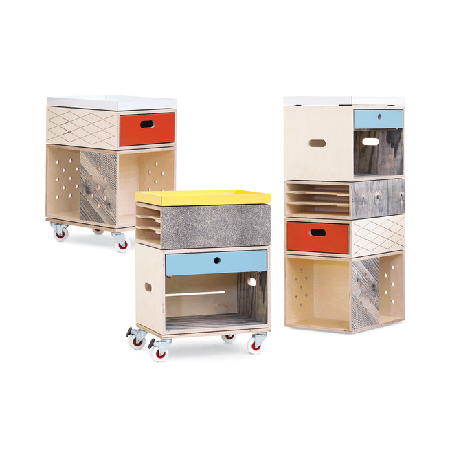 colorful trolley storage cabinets Jan en Randoald for Labt