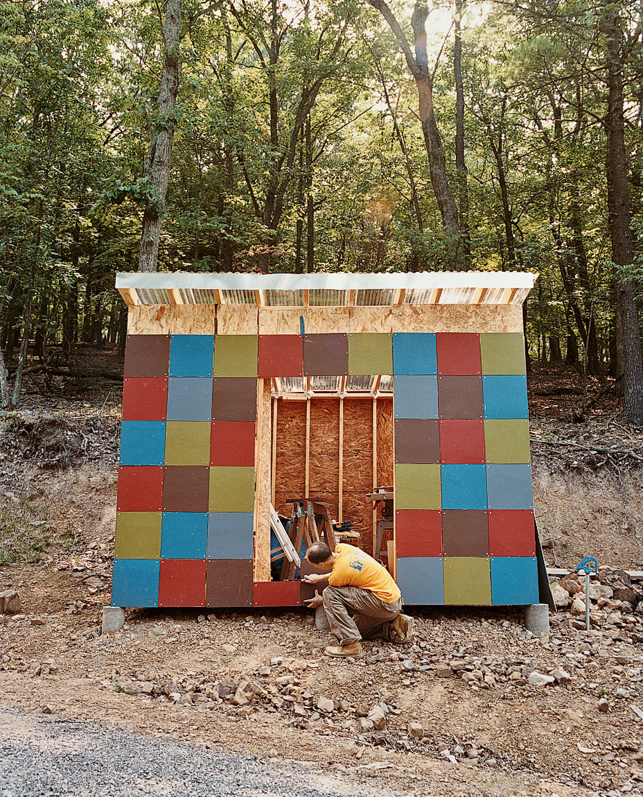 An object lesson in waste not, want not: Brown's shed was built of leftover  siding and houses firewood culled from the site excavation.