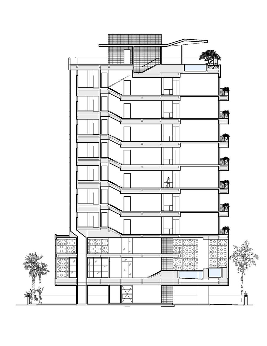 """<p>The side elevation of the building shows the seven 2,500-square-foot apartments, including the owner's two-level penthouse apartment, stacked above the common area downstairs. Image courtesy <a href=""""http://khanna-schultz.com/"""">Khanna Schultz</a>."""