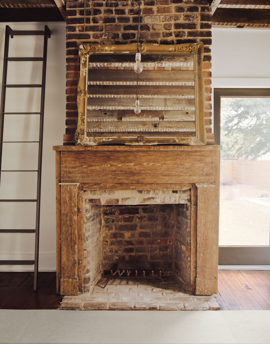 One of six fireplaces in the Rice and Nissenboim residence.