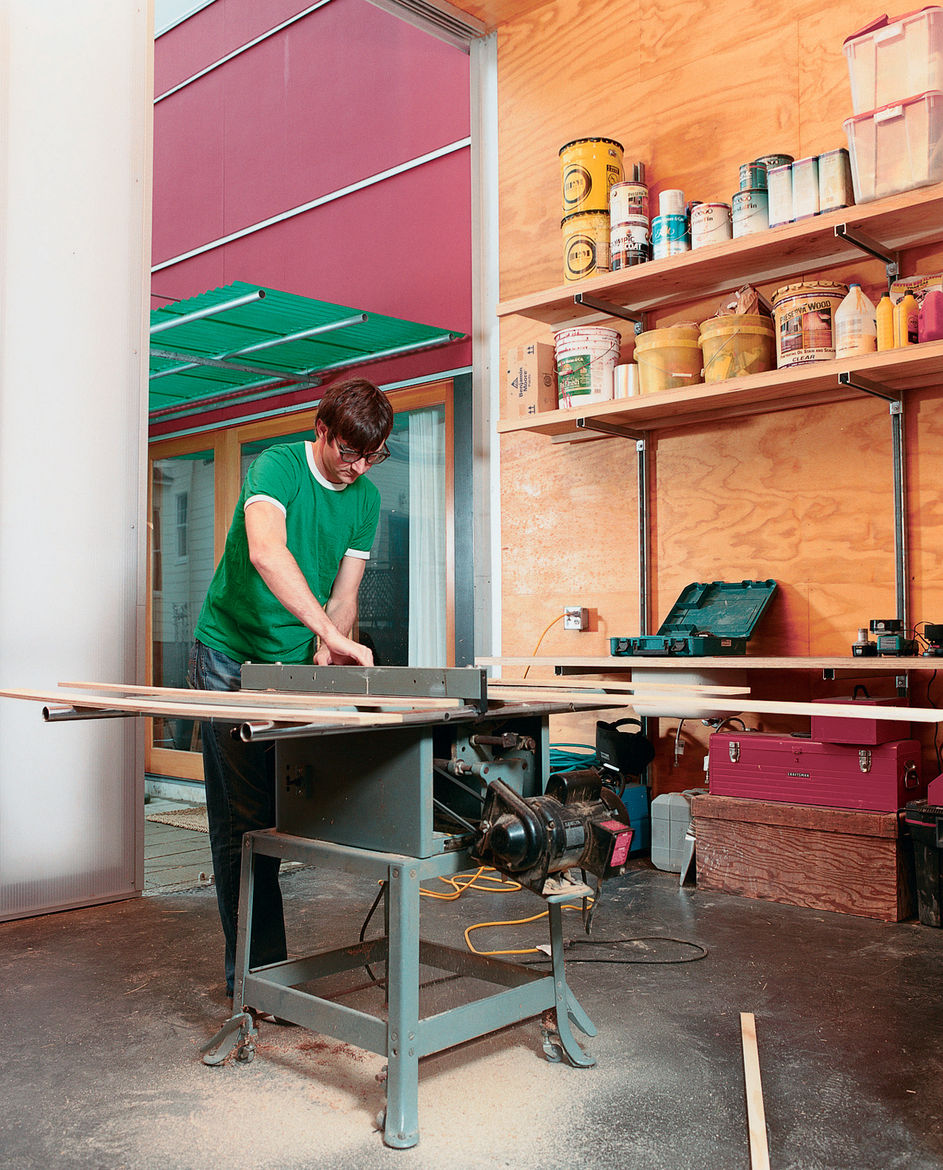 Sarti recently completed the studio addition to his house, giving him another 300 square feet of space. Now, all future home-improvement projects can be completed entirely onsite, though late-night table-saw usage might leave his neighbors sleepless in Se