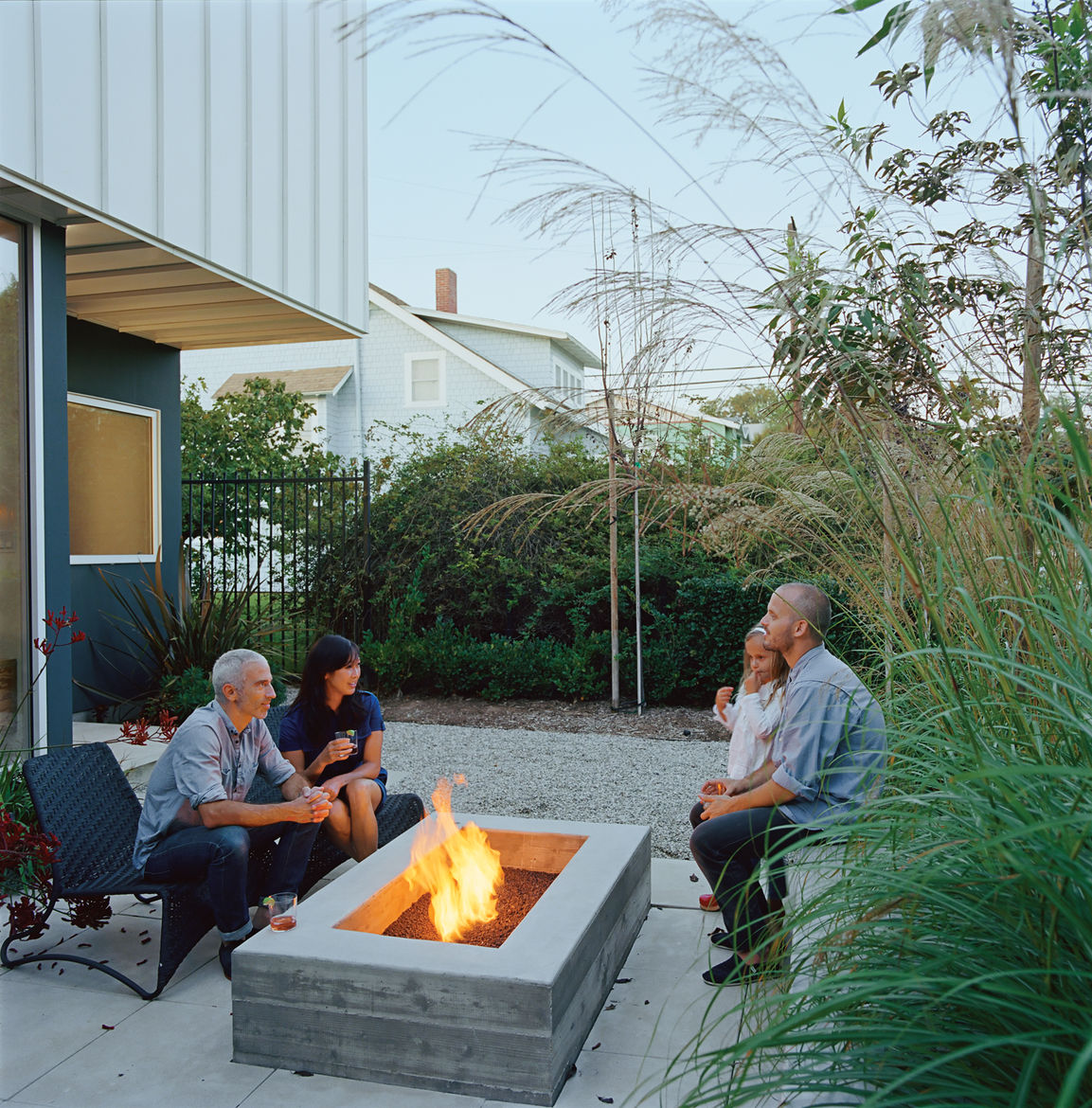 California isn't known for its front porch culture, but Grunbaum loves Venice's walk streets and their pedestrian vibe, so he employed landscape designer Stephanie Bartron to orient his small patio towards the street. The house itself acts as a windbreak,