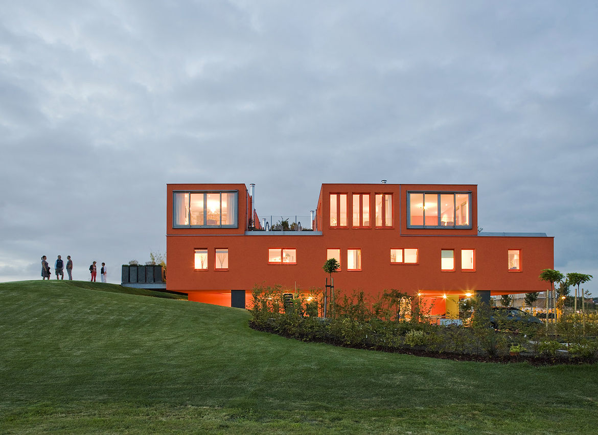 Villa Van Vijven cuts a truly remarkable figure, a striking orange figure on the otherwise flat green landscape.