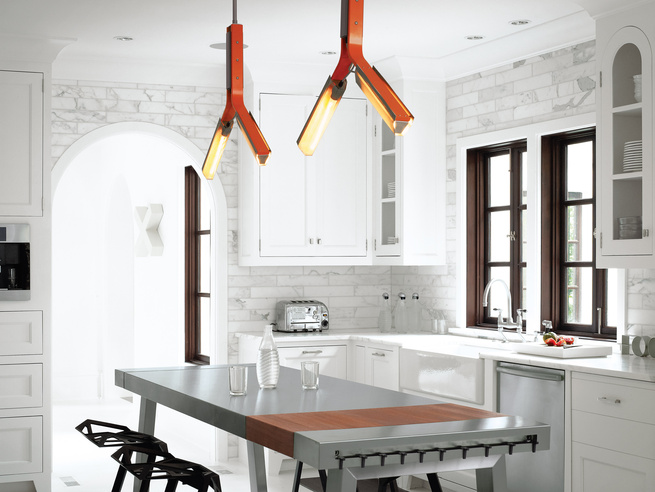 Modern kitchen with Rich Brilliant Willing overhead lighting