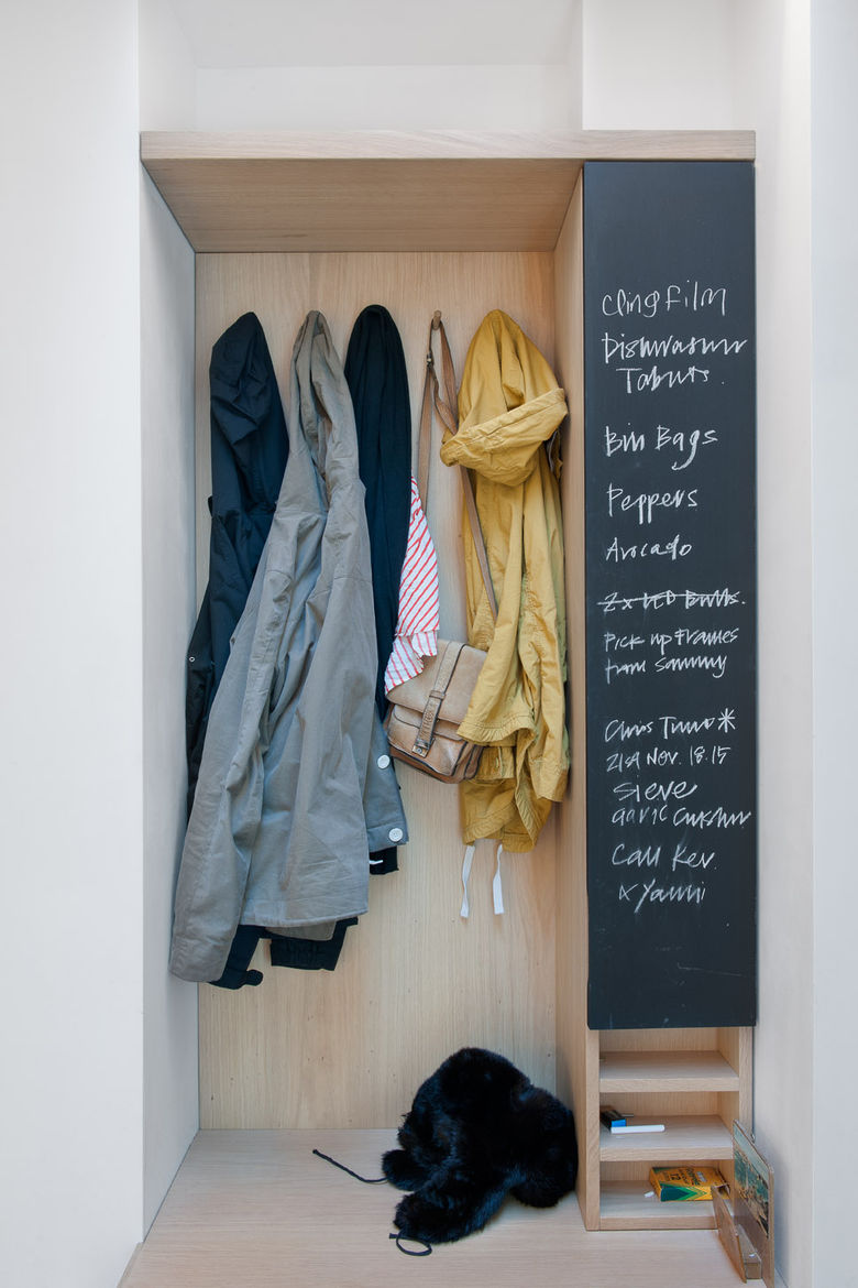 Coat rack with chalk board to-do list