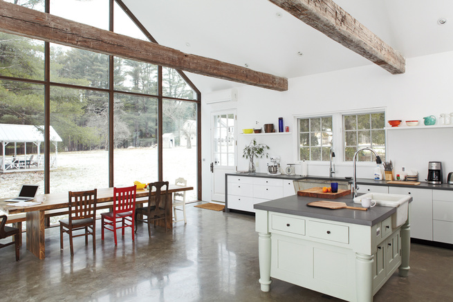 Clean kitchen dining room wooden beams