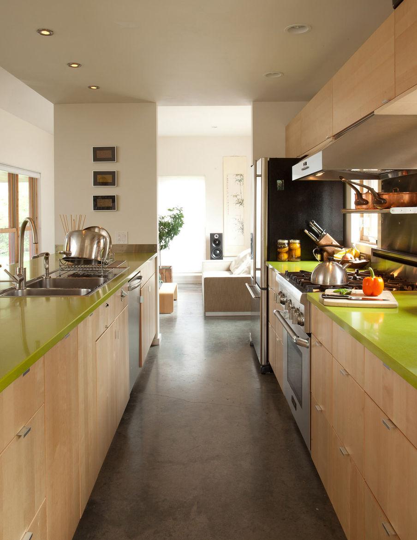 Clean design kitchen hallway