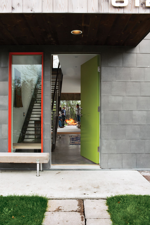 Lime green front door entrance red frame windows