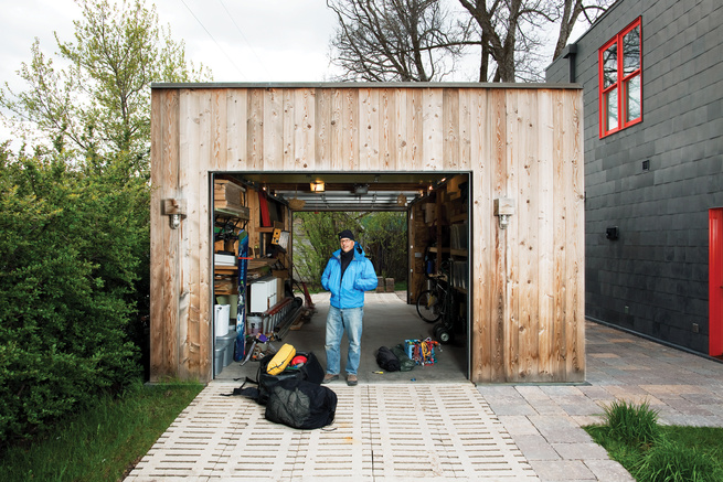 Outdoor wood square garage shed