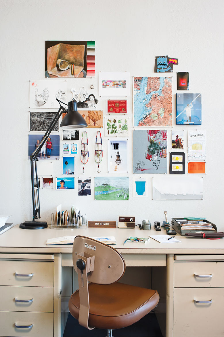 Modern decorated office desk with leather chair