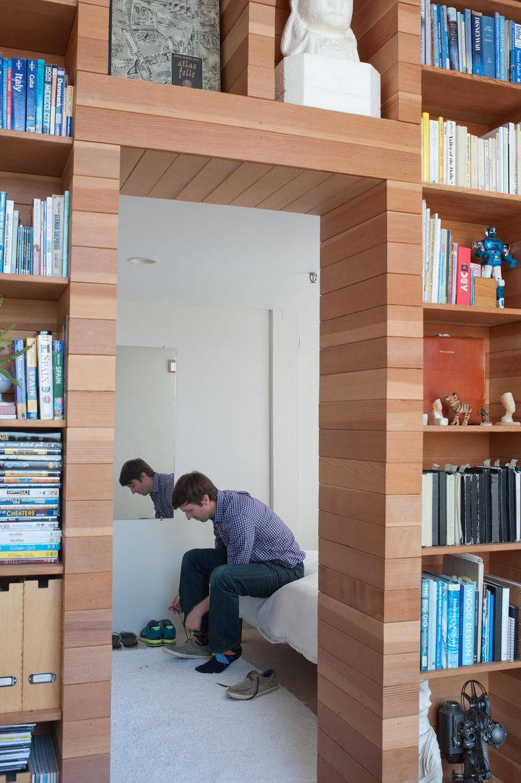 Modern encased bookshelf bedroom