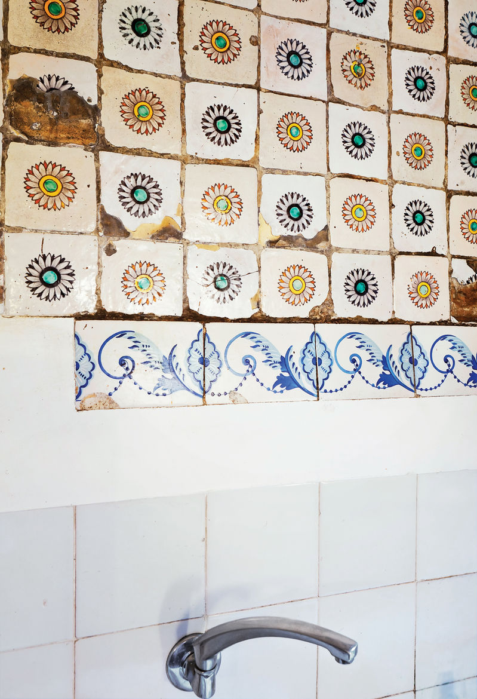 Original tile work walls