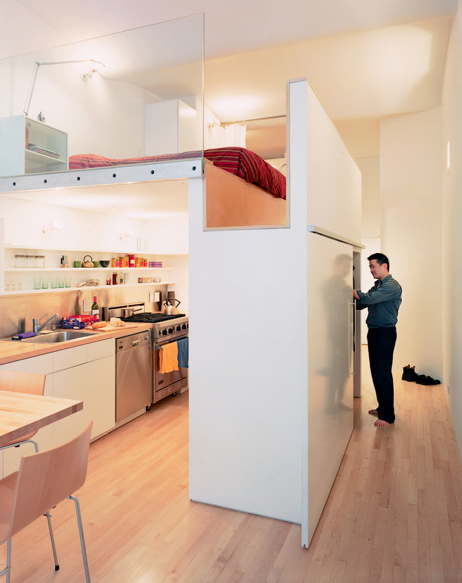 """""""Wonbo had to be able to stand in the sleeping area,"""" architect Kyu Sung Woo says of his son. """"By combining two dimensions—the height of the bed and that of the closet (the top of which forms the bedroom floor)—we made that possible."""""""