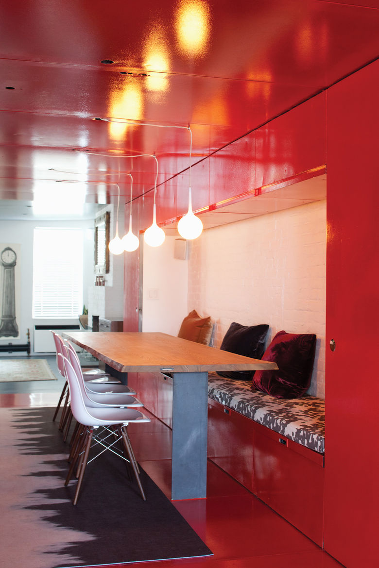 dining room with painted red walls