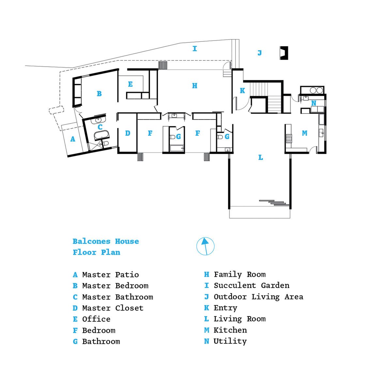 Modern mid-century renovated home floor plan