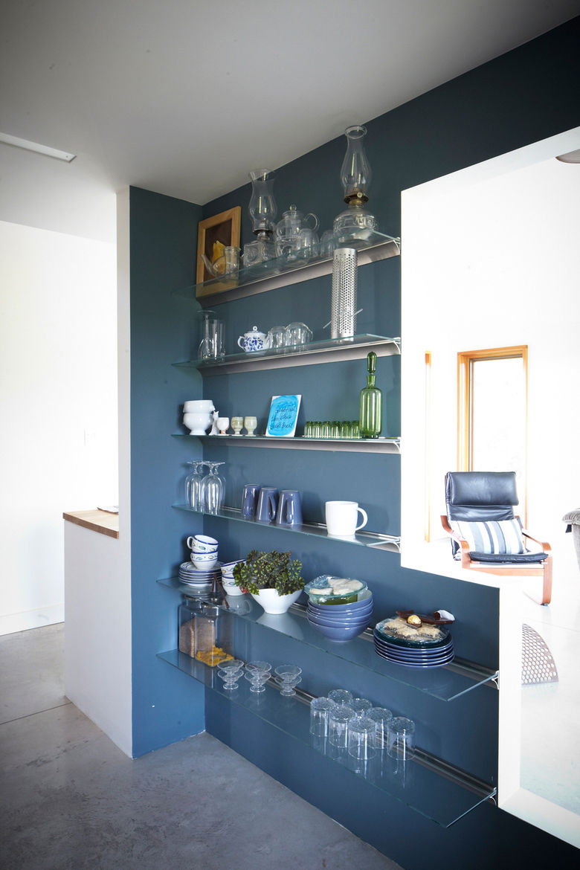 Modern glass-and-metal shelves