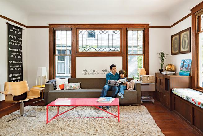 Modern living room with Blu Dot furniture and shag rug