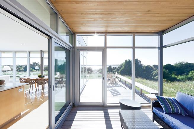 Massachusetts house of Toshiko Mori with modern glass, wood, and steel interior
