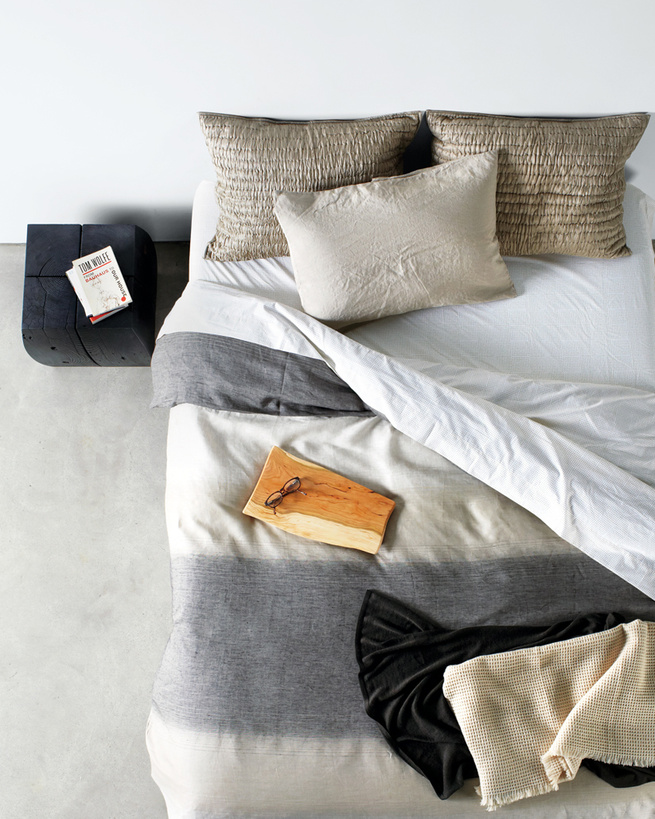 modern bedding in neutral earth tones