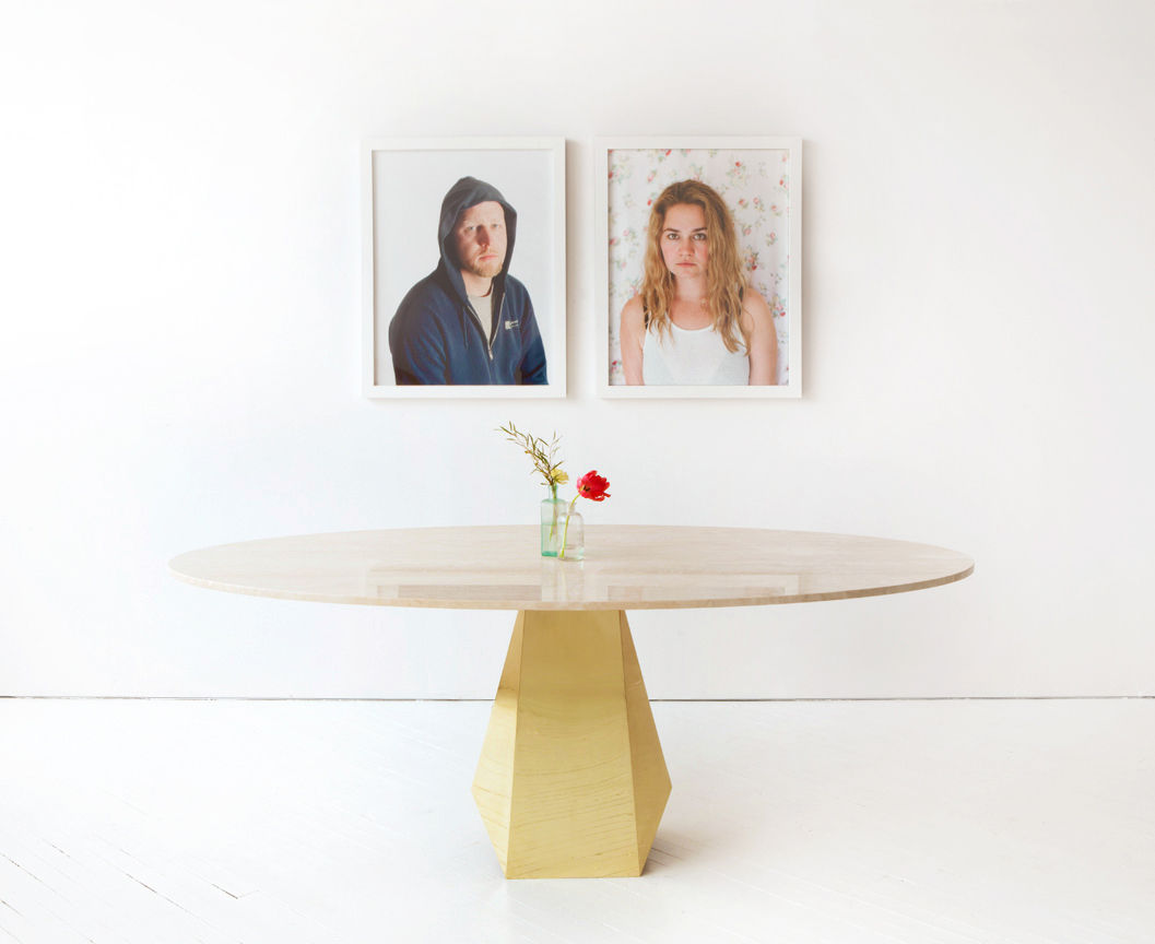 Marble and brass Oscar table by Egg Collective