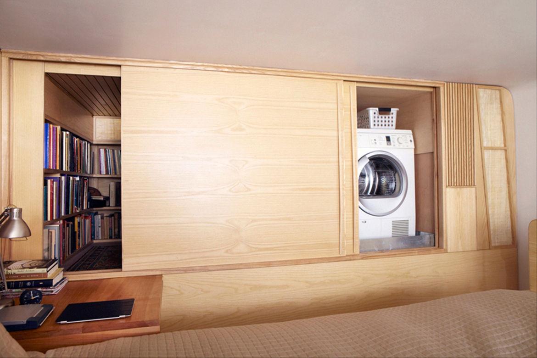 Sliding maple doors for modern New York apartment
