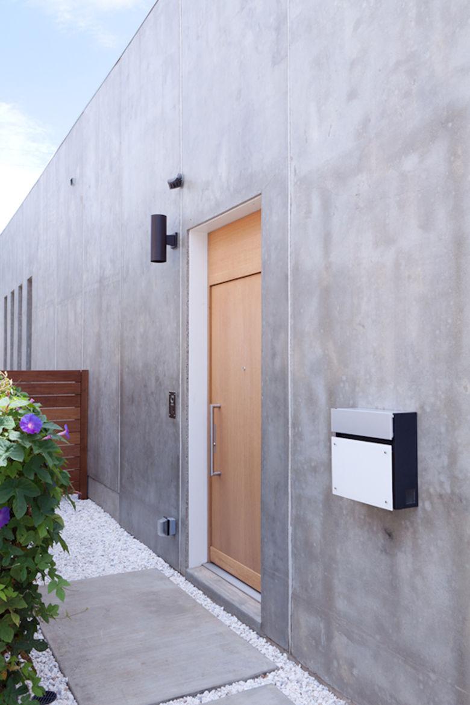 Outdoor front entrance with wooden door