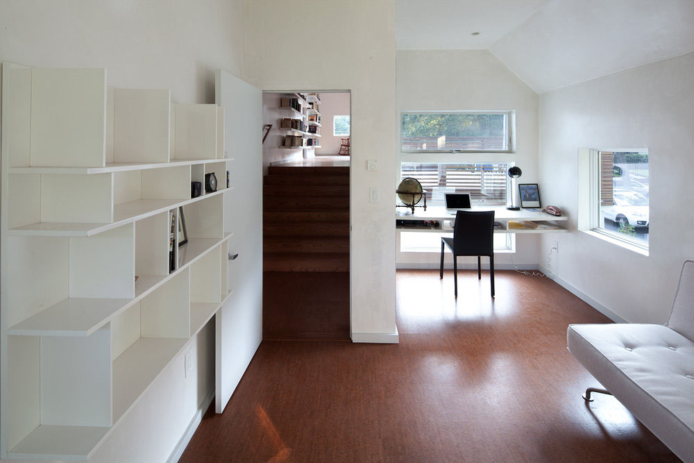 Multi-floored living space with wooden floors