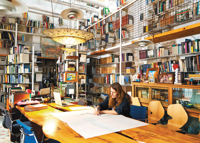 Italian architect Benedetta Tagliabue in her home library