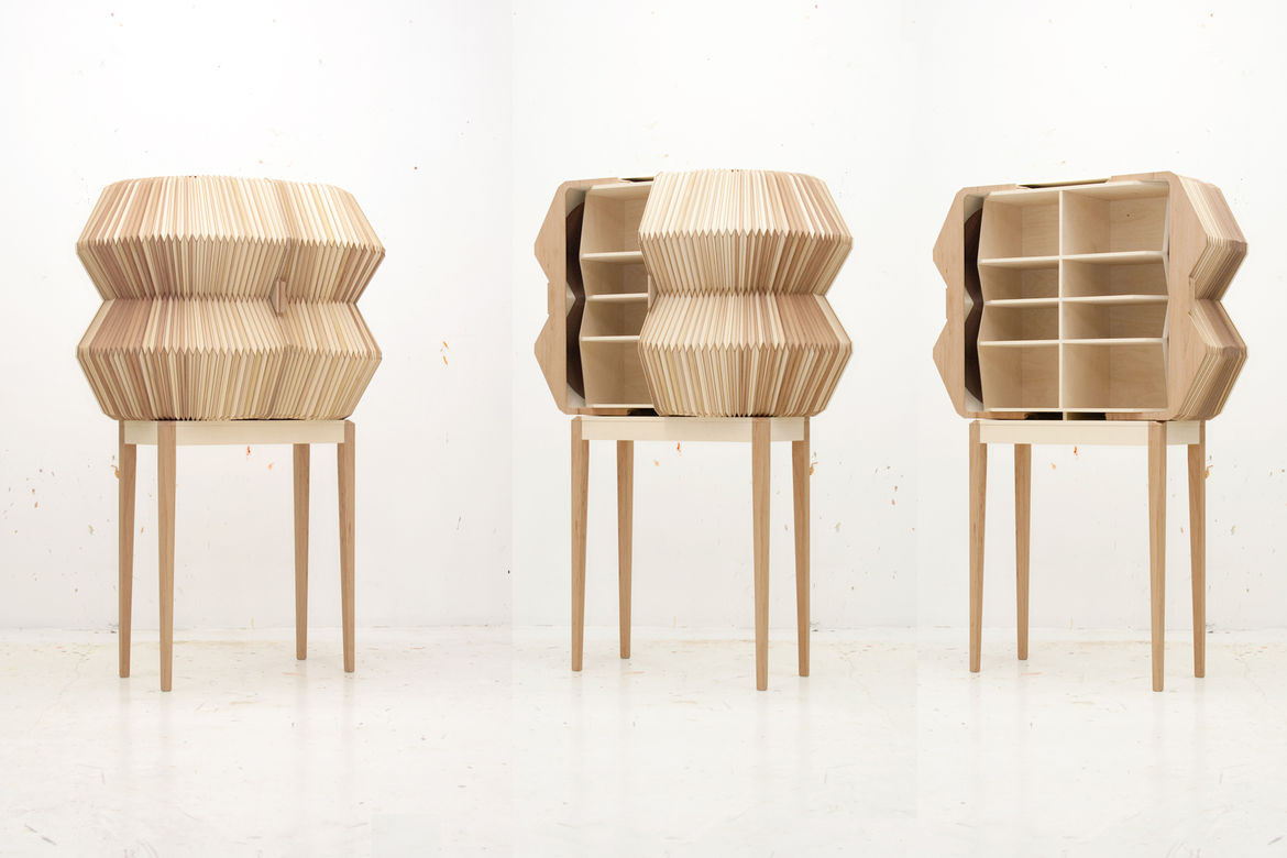 Wooden Accordion Cabinet by Elisa Strokyk